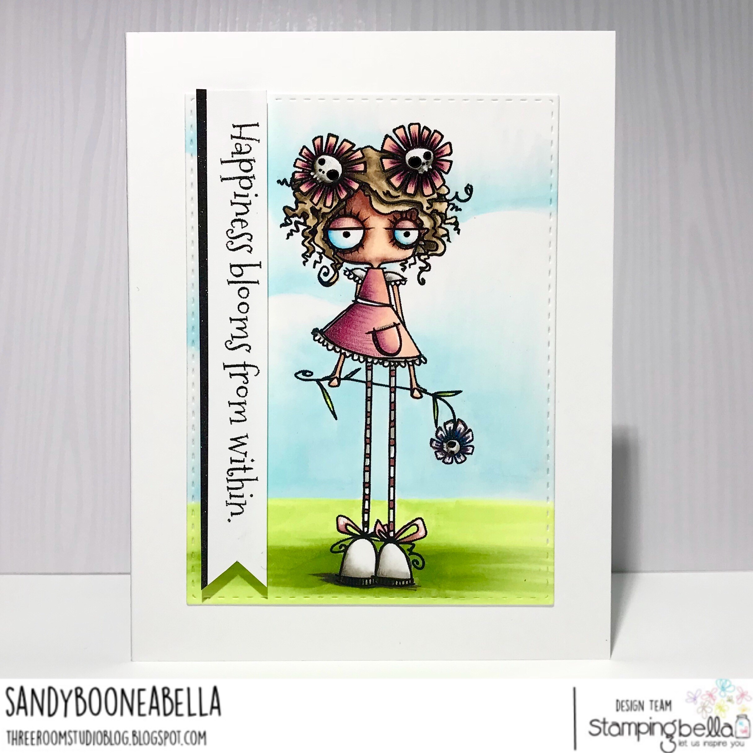 www.stampingbella.com: Rubber stamp: LONG STEMMED ODDBALL, card by Sandy Boone