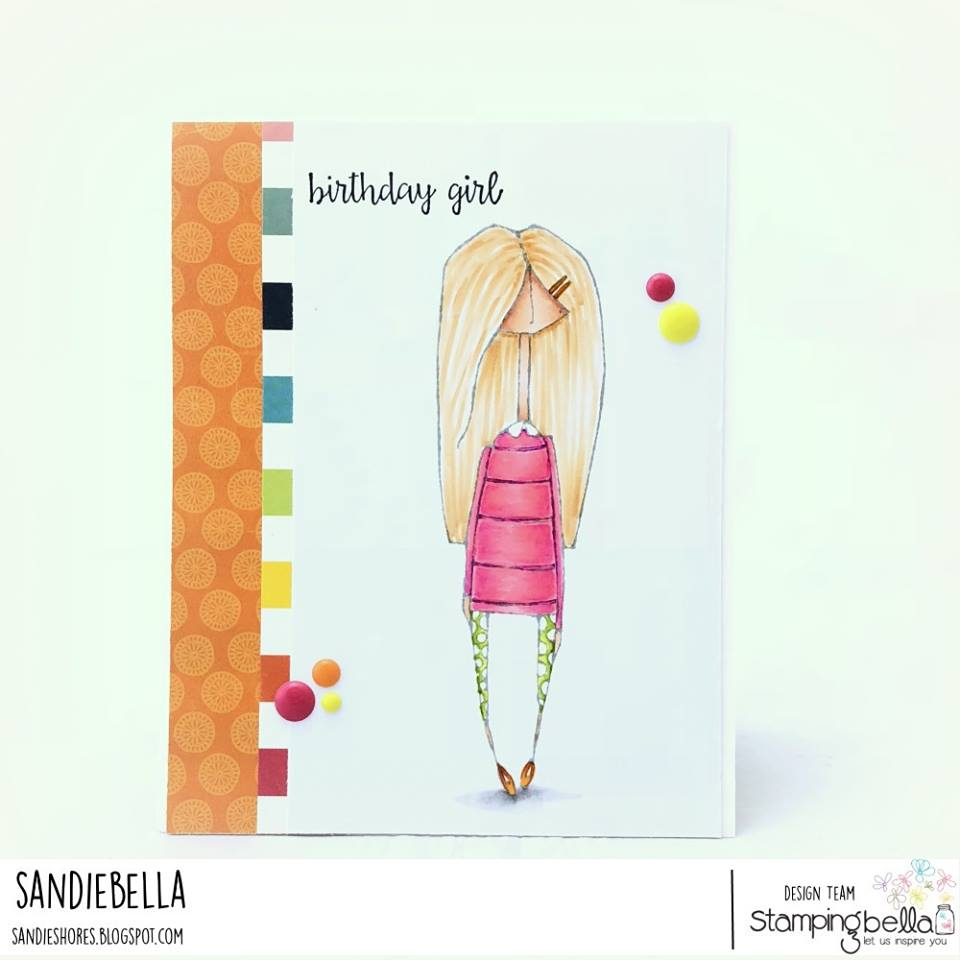 www.stampingbella.com: rubber stamp used: MOSTLY NAOMI, card by Sandie Dunne