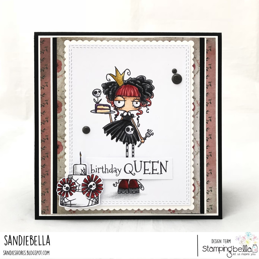 www.stampingbella.com: Rubber stamp: ODDBALL Birthday Queen card by Sandie Dunne
