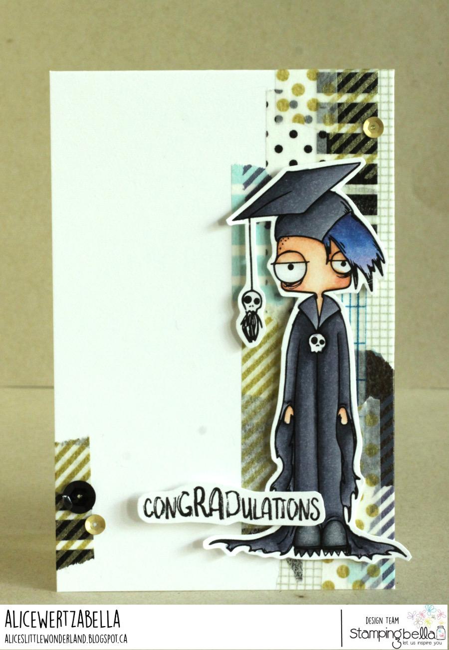 www.stampingbella.com: rubber stamp used ODDBALL BOY GRADUATE, card by ALICE WERTZ
