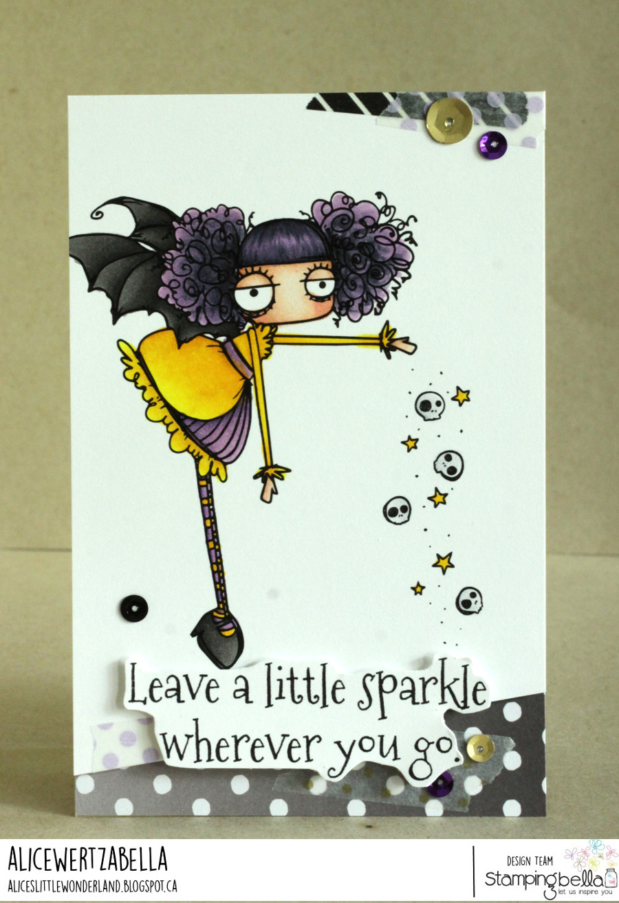 www.stampingbella.com: rubber stamp used ODDBALL SPARKLE FAIRY, card by Alice Wertz
