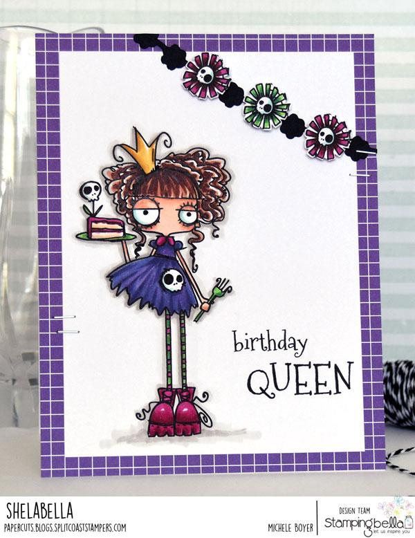 www.stampingbella.com: Rubber stamp: ODDBALL Birthday Queen card by Michele Boyer