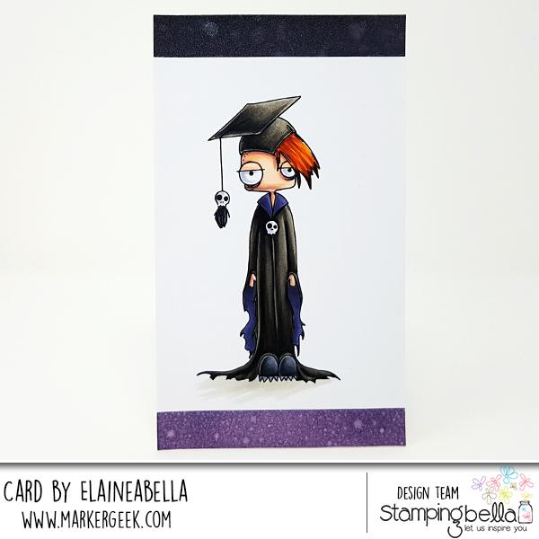 www.stampingbella.com: rubber stamp used ODDBALL BOY GRADUATE card by Elaine Hughes