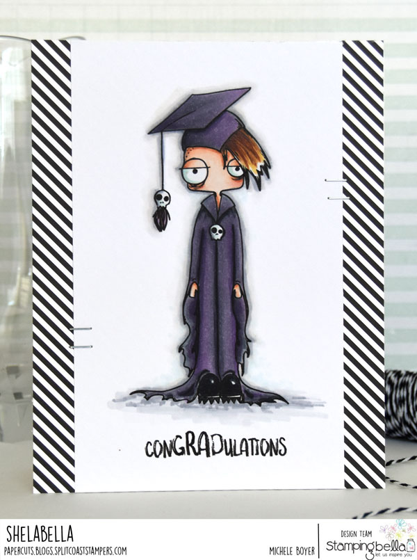 www.stampingbella.com: rubber stamp used ODDBALL BOY GRADUATE, card by Michele Boyer