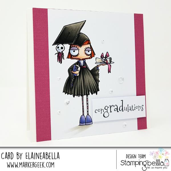 www.stampingbella.com: Rubber stamp: ODDBALL GIRL GRADUATE, card by Elaine Hughes