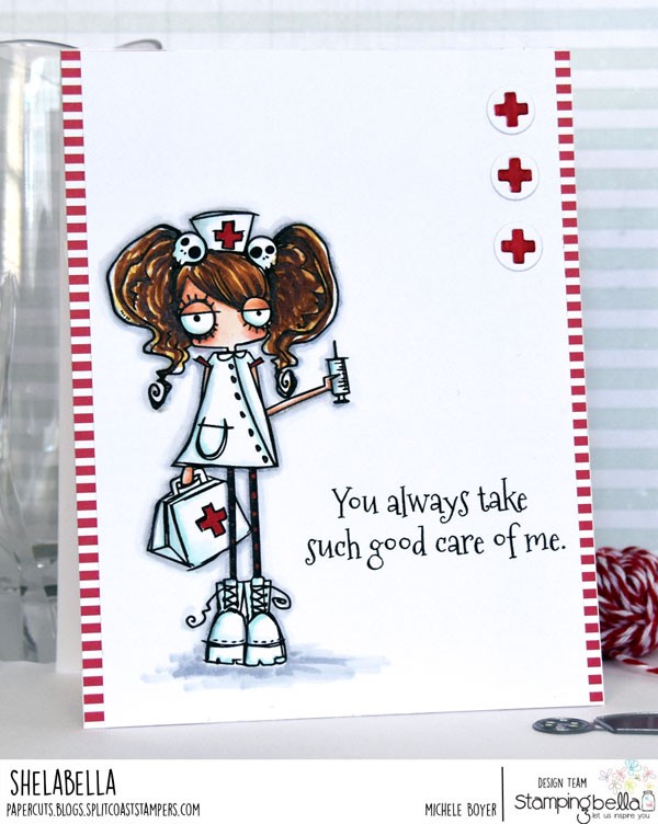 www.stampingbella.com: Rubber stamp: ODDBALL Nurse, card by Michele Boyer