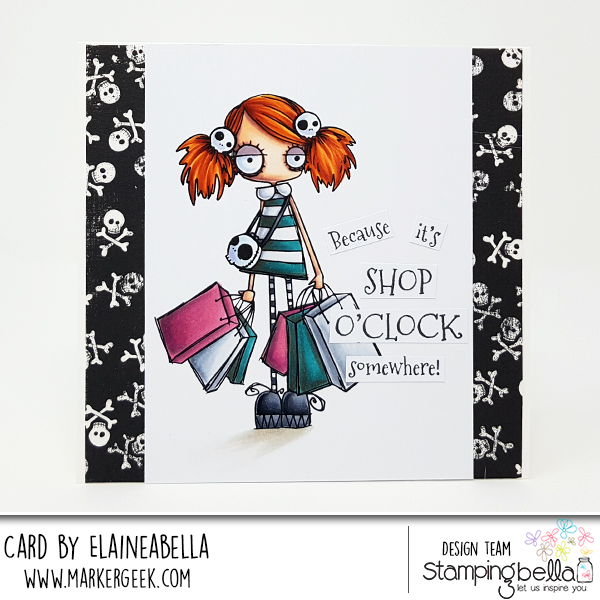 www.stampingbella.com: rubber stamp used ODDBALL SHOPPER, card by Elaine Hughes
