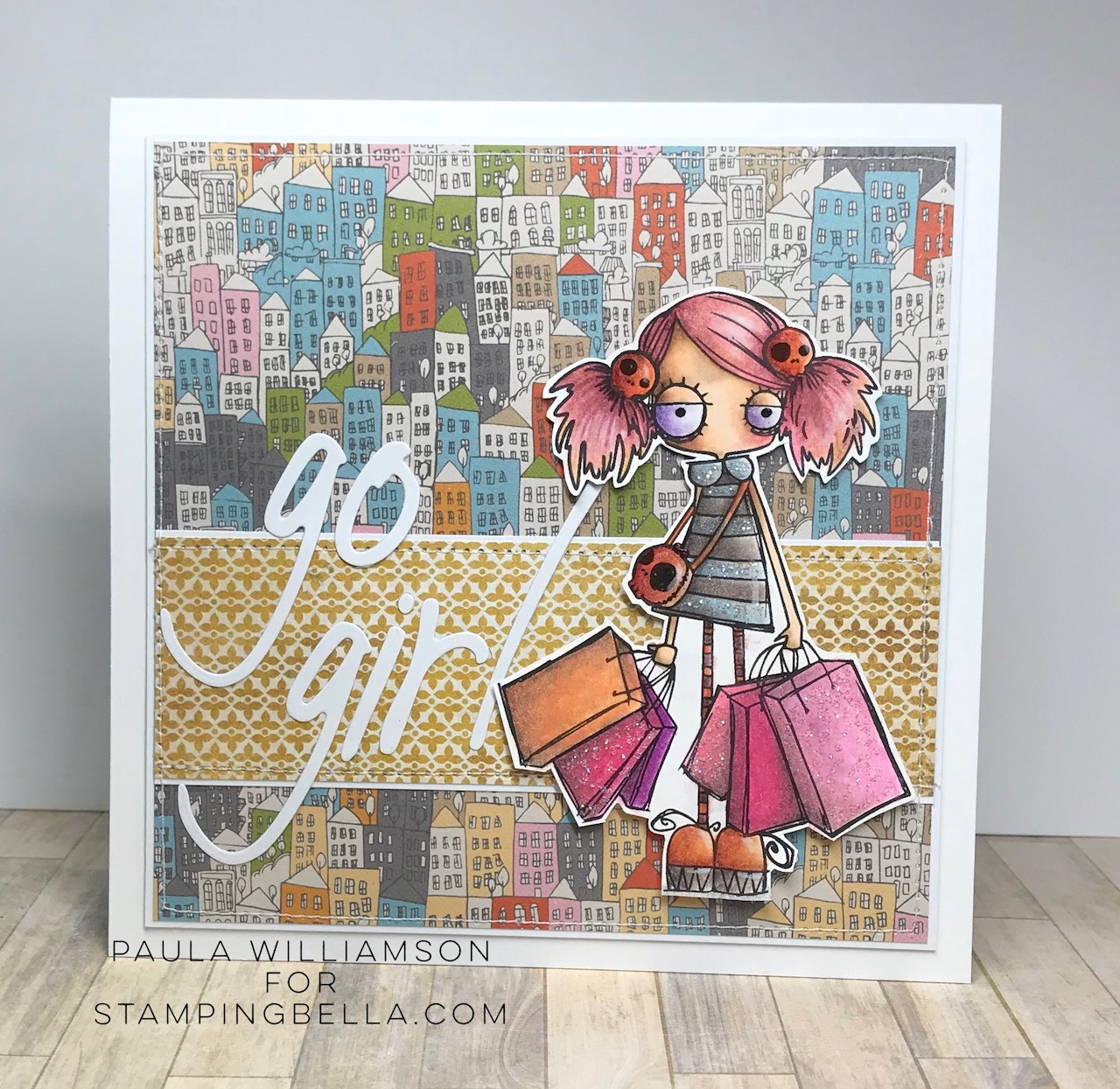 www.stampingbella.com: rubber stamp used ODDBALL SHOPPER, card by Paula Williamson