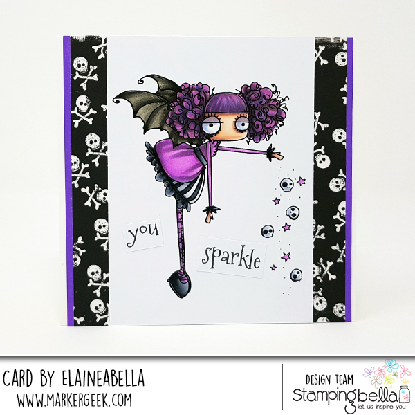 www.stampingbella.com: rubber stamp used ODDBALL SPARKLE FAIRY, card by Elaine Hughes