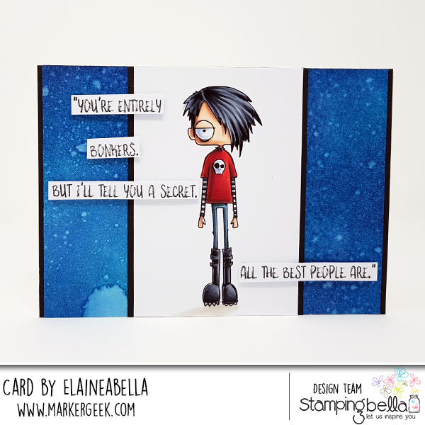 www.stampingbella.com: rubber stamp used ODDBALL Standing Boy, card by Elaine Hughes