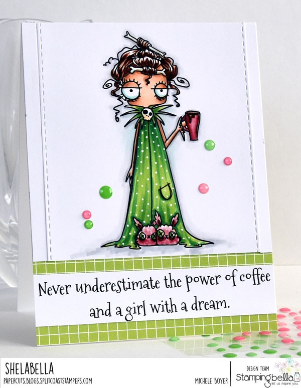 www.stampingbella.com: Rubber stamp: ODDBALL WITH A COFFEE, card by Michele Boyer