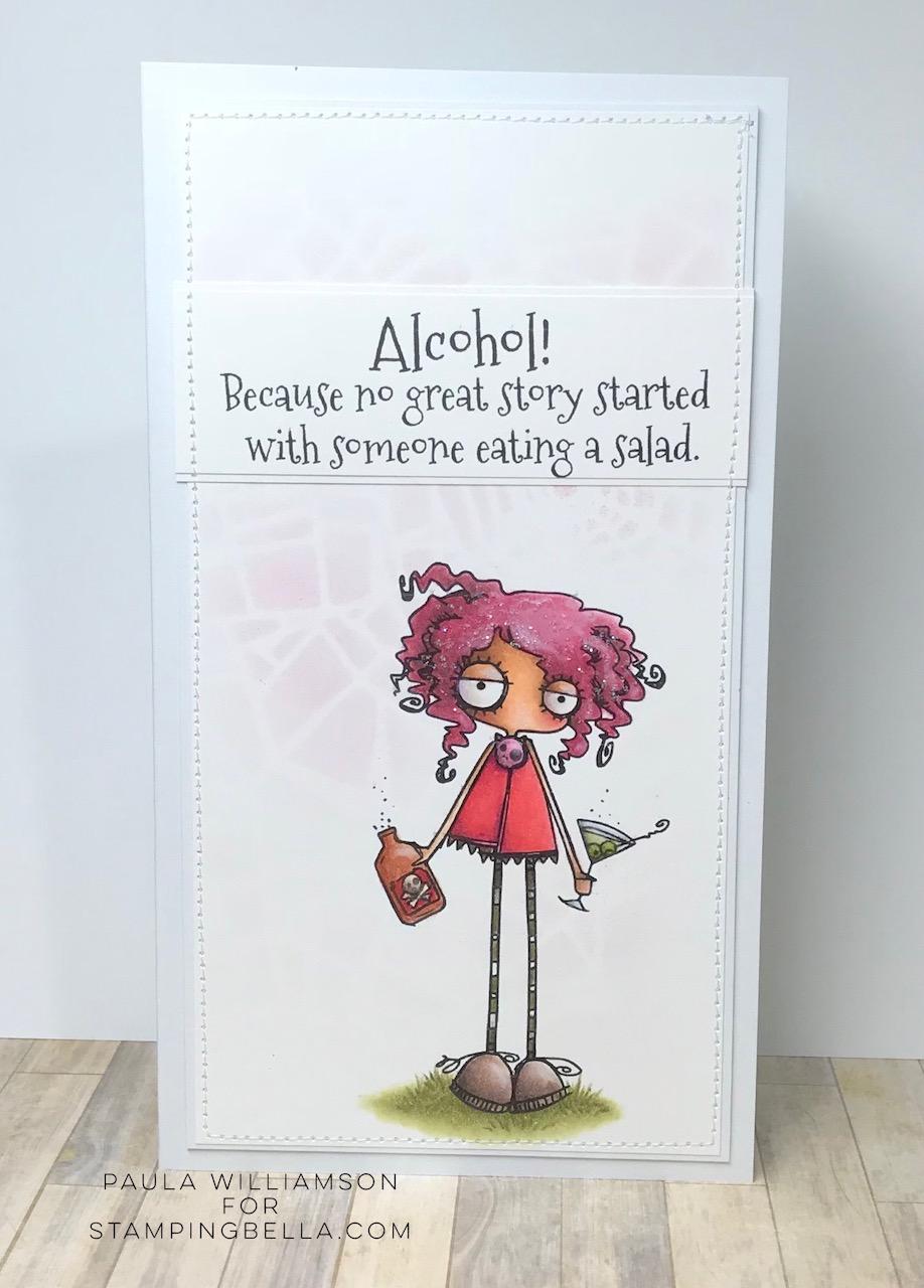 www.stampingbella.com: Rubber stamp: ODDBALL WITH A Martini, card by Paula Williamson