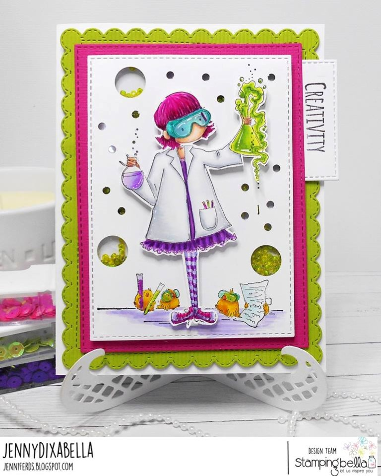 www.stampingbella.com: rubber stamp used: TINY TOWNIE SAGE LOVES SCIENCE card by JENNY DIX
