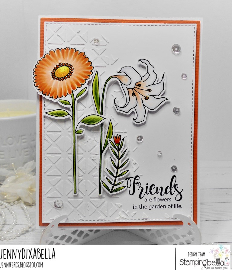 www.stampingbella.com: rubber stamp: SIDE TO SIDE FLORAL SET , tiny townie garden girl FLOWER SENTIMENTS set. Card by Jenny Dix