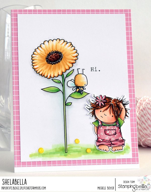 www.stampingbella.com: rubber stamp: SIDE TO SIDE FLORAL SET, SQUIDGY PALS, LITTLE BITS LITTLE CRITTERS. CARD BY MICHELE BOYER