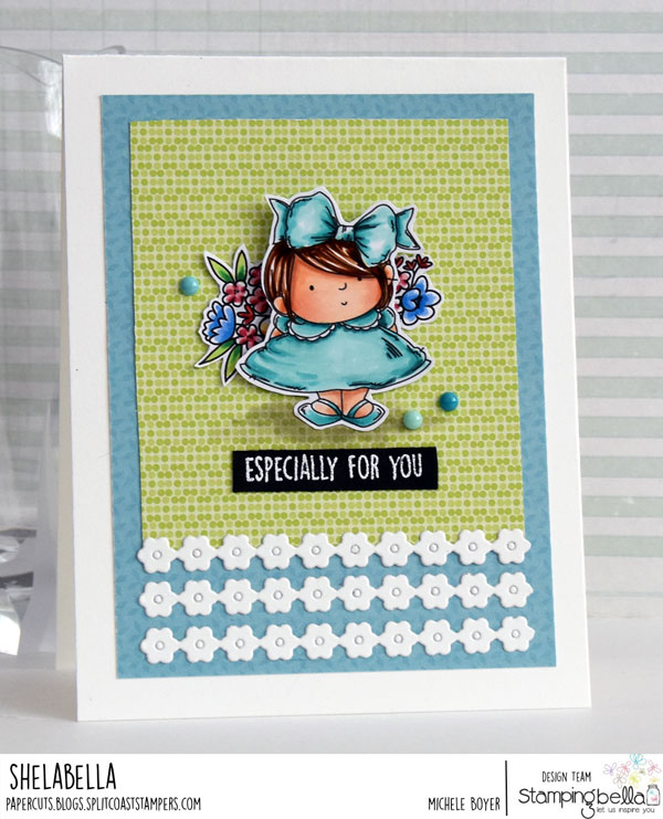 www.stampingbella.com: rubber stamp: LITTLE BITS FLOWER POTS, squidgy pals CARD BY MICHELE BOYER