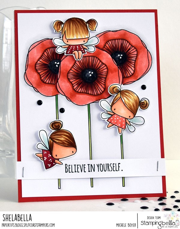 www.stampingbella.com: rubber stamp: LITTLE BITS FAIRY SET, STRAIGHT UP FLORAL SET. CARD BY MICHELE BOYER