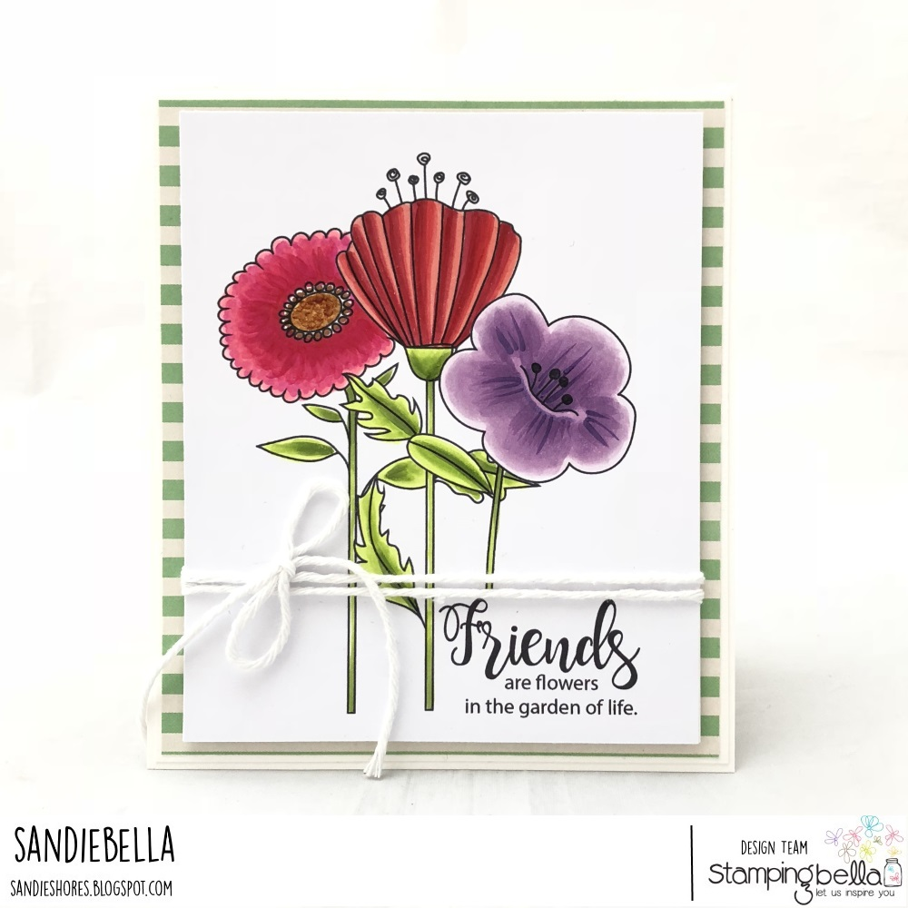 www.stampingbella.com, RUBBER STAMP: STRAIGHT UP FLORAL SET and TULIP FLORAL SET and SENTIMENT FROM TINY TOWNIE GARDEN GIRL FLOWER SENTIMENT SET.. card by SANDIE DUNNE