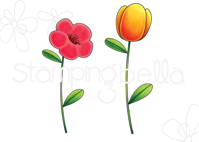 www.stampingbella.com, RUBBER STAMP: TULIP FLORAL SET