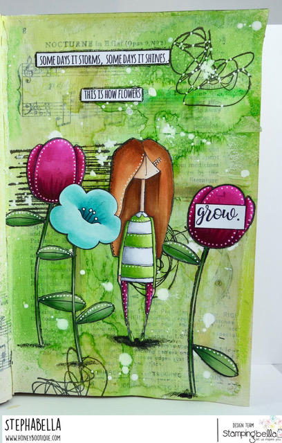 www.stampingbella.com, RUBBER STAMP: TULIP FLORAL SET and MOSTLY NAOMI. ART journal page by STEPHANIE HILL