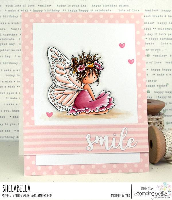 www.stampingbella.com: rubber stamp used:  TINY TOWNIE BUTTERFLY GIRL BESS. CUT IT OUT DIE USED:  SMILE  Card by Michele Boiyer