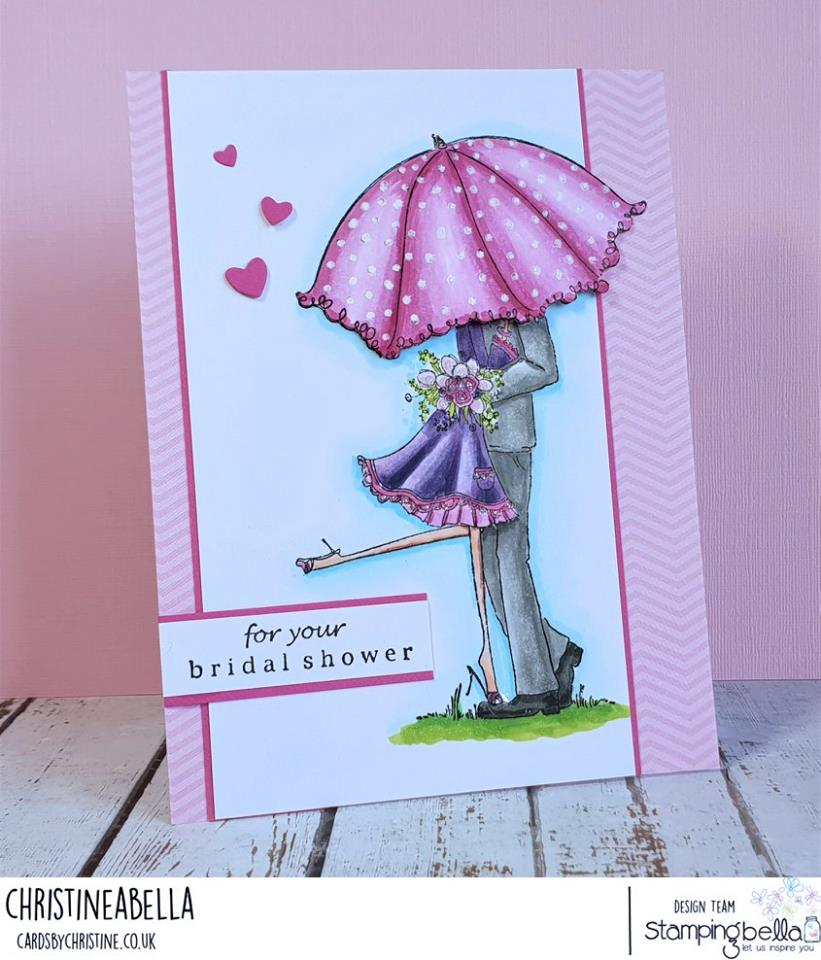www.stampingbella.com: rubber stamp used:  UPTOWN COUPLE EMILY AND RYAN UNDER THE UMBRELLA.   Card by Christine Levison