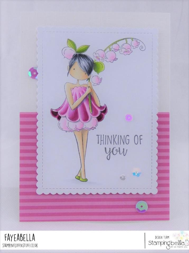 www.stampingbella.com: rubber stamp used:  TINY TOWNIE GARDEN GIRL LILY OF THE VALLEY.   Card by FAYE WYNN JONES