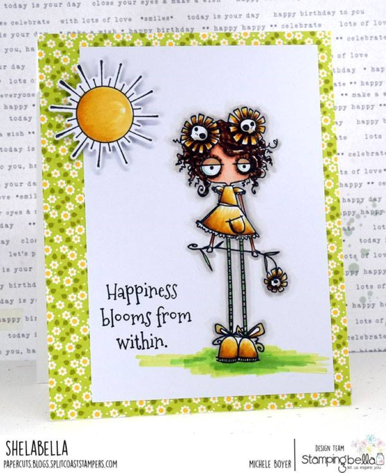 www.stampingbella.com: rubber stamp used: LONG STEMMED ODDBALL.  Card by MICHELE BOYER