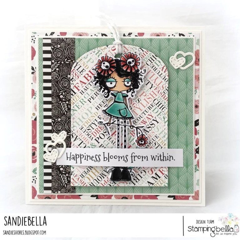 www.stampingbella.com: rubber stamp used: LONG STEMMED ODDBALL.  Card by SANDIE DUNNE