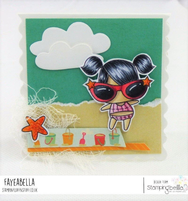 www.stampingbella.com: rubber stamp used: LITTLE BITS SANDCASTLE SET card by Faye Wynn Jones
