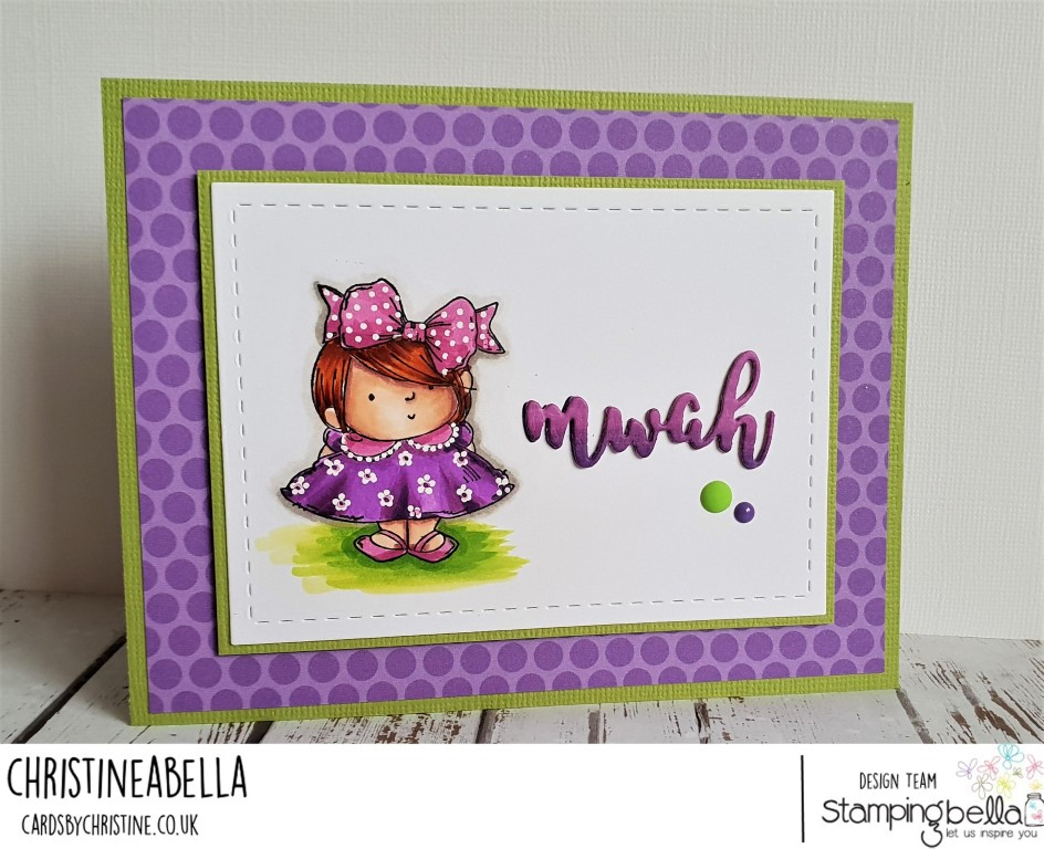 www.stampingbella.com: rubber stamp used: SQUIDGY PALS and MWAH CUT IT OUT DIE.  Card by CHRISTINE LEVISON