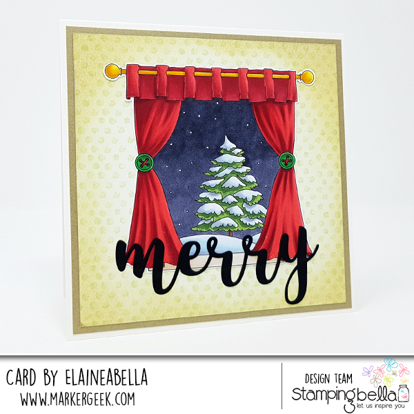 www.stampingbella.com: RUBBER STAMP: WINTER WINDOW, card by Elaine Hughes