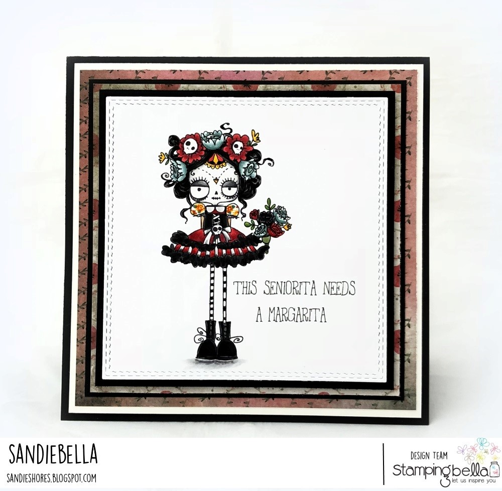 www.stampingbella.com: rubber stamps used: DAY OF THE DEAD ODDBALL. Card by SANDIE DUNNE