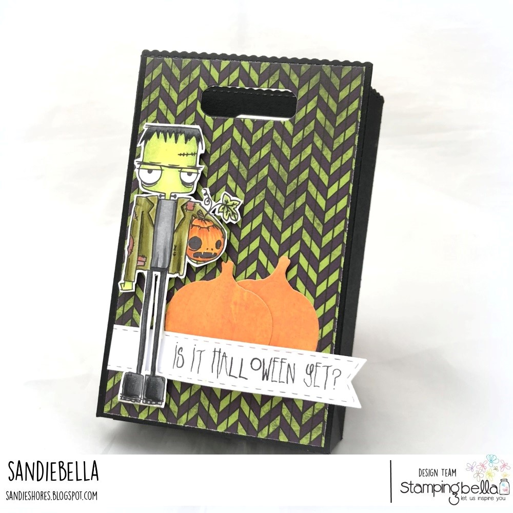 www.stampingbella.com: rubber stamps used: ODDBALL FRANKSENSTEIN. Card by Sandie Dunne