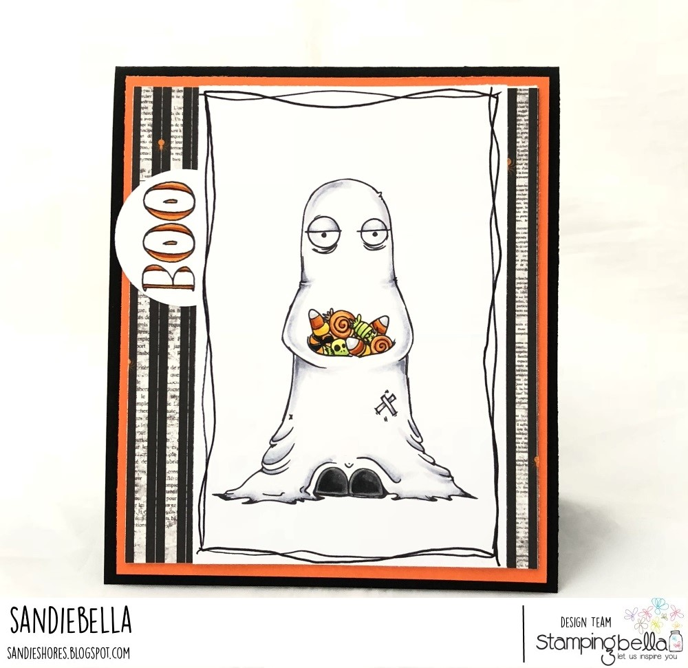 www.stampingbella.com: rubber stamps used:ODDBALL GHOST. Card by SANDIE DUNNE