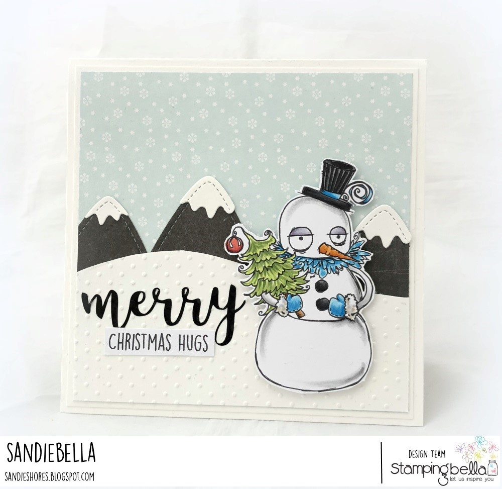 www.stampingbella.com: RUBBER STAMP USED: ODDBALL SNOWMAN card by Sandie Dunne