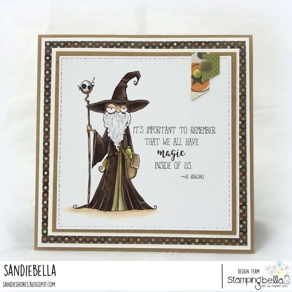 www.stampingbella.com: RUBBER STAMP: ODDBALL WIZARD. CARD BY SANDIE DUNNE