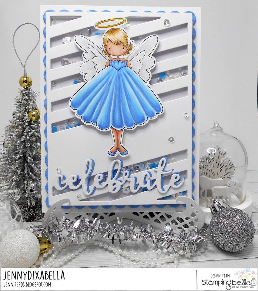 www.stampingbella.com: RUBBER STAMP: TINY TOWNIE ANNIE the ANGEL , CELEBRATE CUT IT OUT DIE, card by JENNY DIX