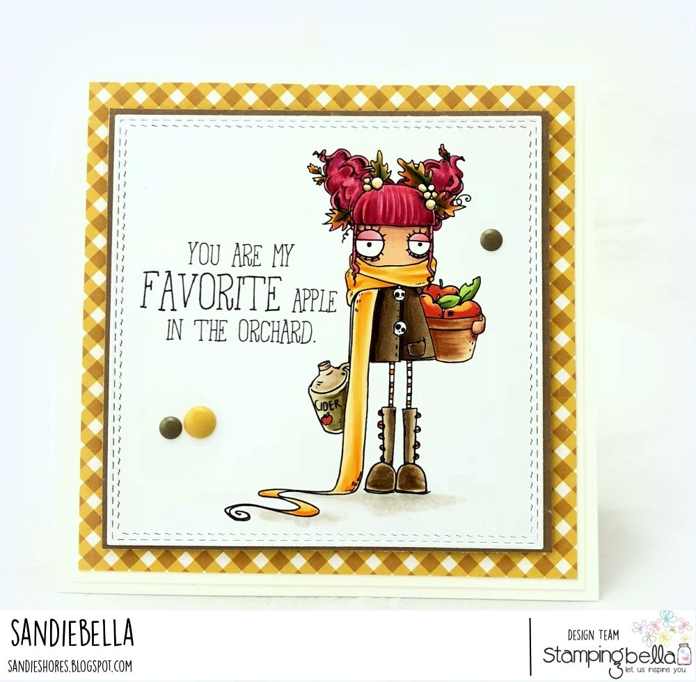 www.stampingbella.com: RUBBER STAMP: APPLE CIDER ODDBALL. CARD BY Sandie Dunne