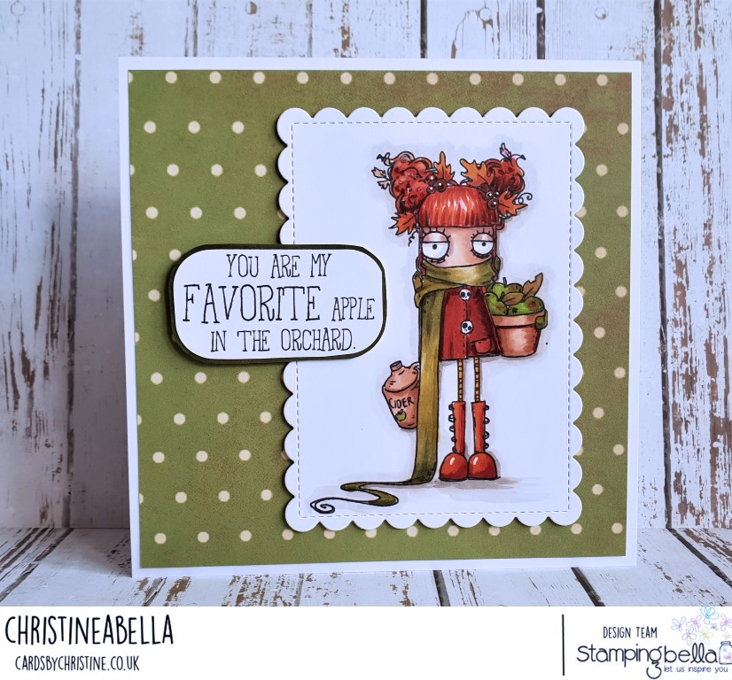 www.stampingbella.com: RUBBER STAMP: APPLE CIDER ODDBALL. CARD BY CHRISTINE LEVISON