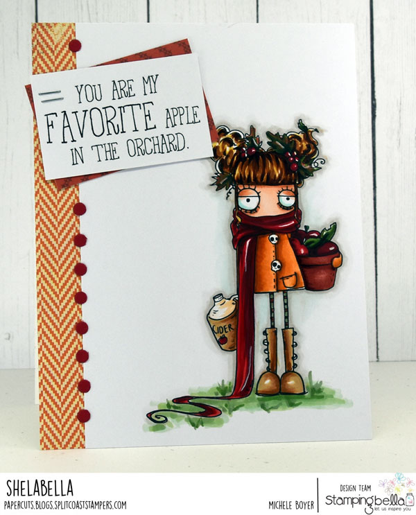 www.stampingbella.com: RUBBER STAMP: APPLE CIDER ODDBALL. CARD BY MICHELE BOYER