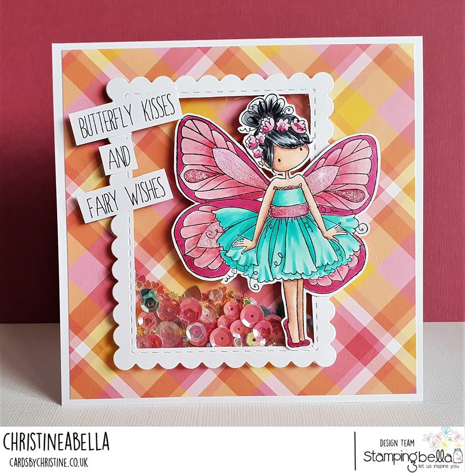 www.stampingbella.com: rubber stamp and die used: TINY TOWNIE BUTTERFLY GIRL BLANCHE, card by Christine LEVISON