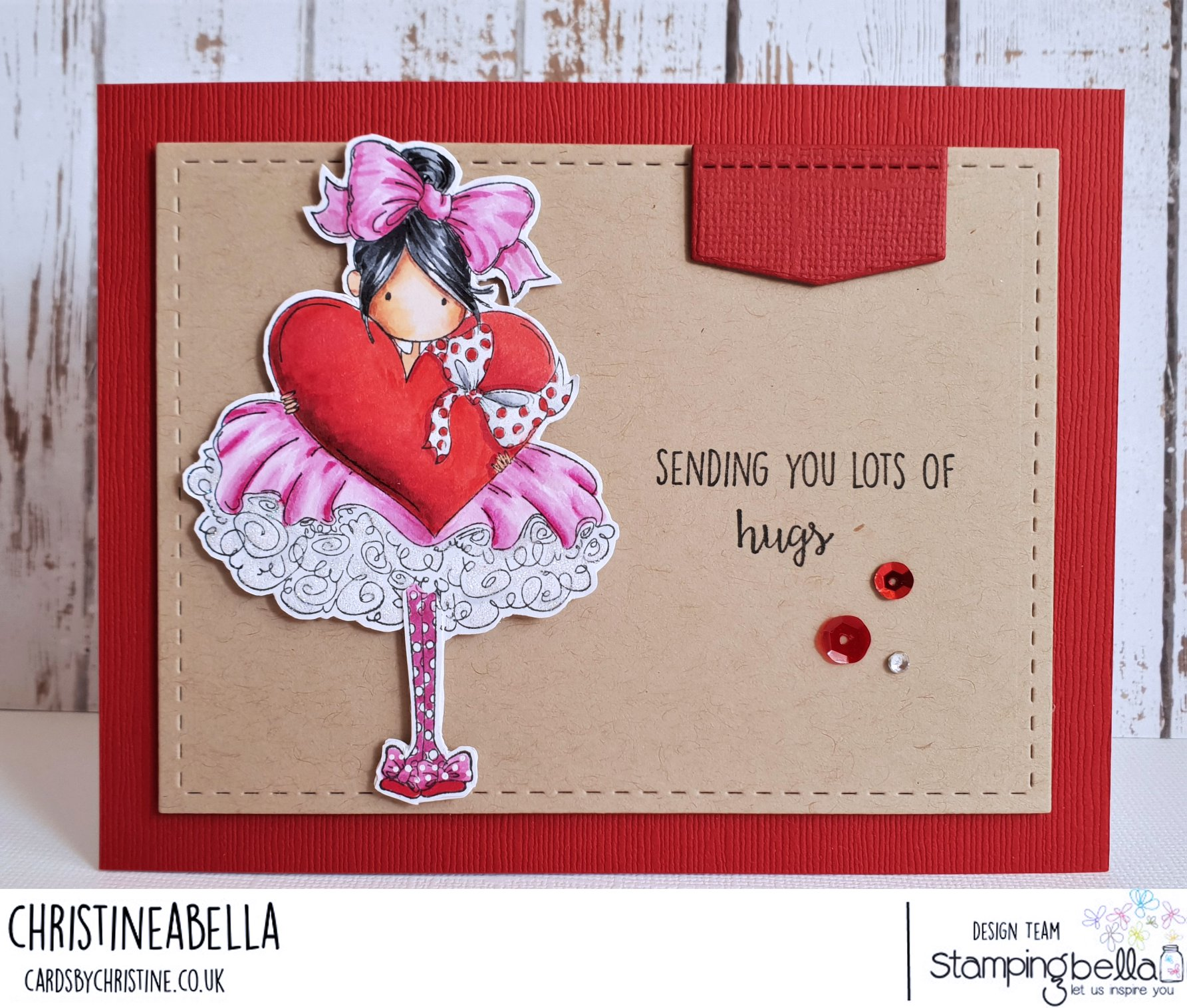 www.stampingbella.com: rubber stamp used: TINY TOWNIE BONNIE LOVES BOWS, card by CHRISTINE LEVISON
