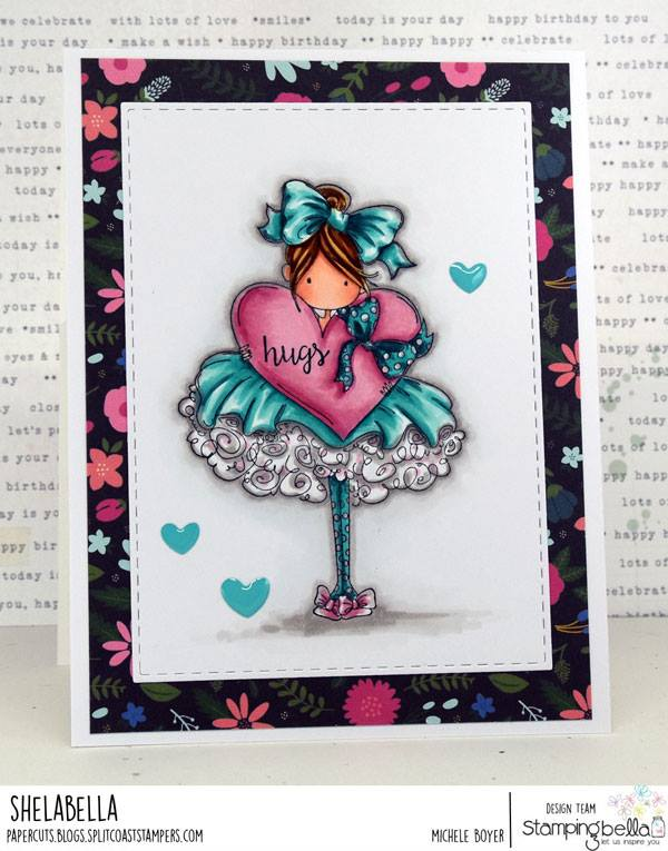 www.stampingbella.com: rubber stamp used: TINY TOWNIE BONNIE LOVES BOWS, card by Michele Boyer