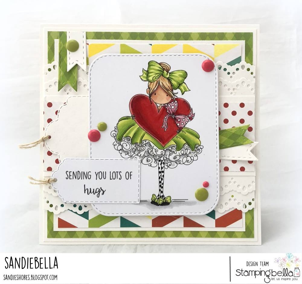 www.stampingbella.com: rubber stamp used: TINY TOWNIE BONNIE LOVES BOWS, card by Sandie Dunne