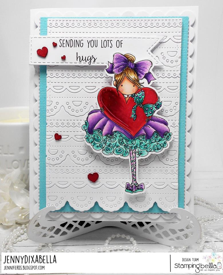 www.stampingbella.com: rubber stamp used: TINY TOWNIE BONNIE LOVES BOWS, card by Jenny Dix