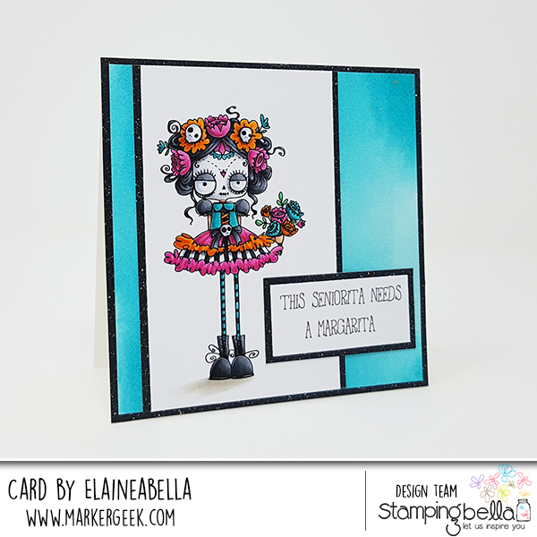 www.stampingbella.com: rubber stamps used: DAY OF THE DEAD ODDBALL. Card by Elaine Hughes