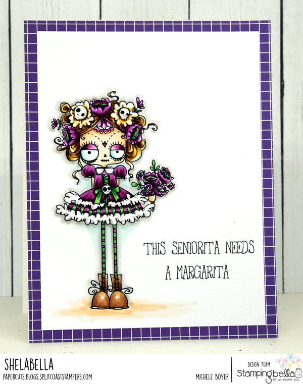 www.stampingbella.com: rubber stamps used: DAY OF THE DEAD ODDBALL. Card by MICHELE BOYER