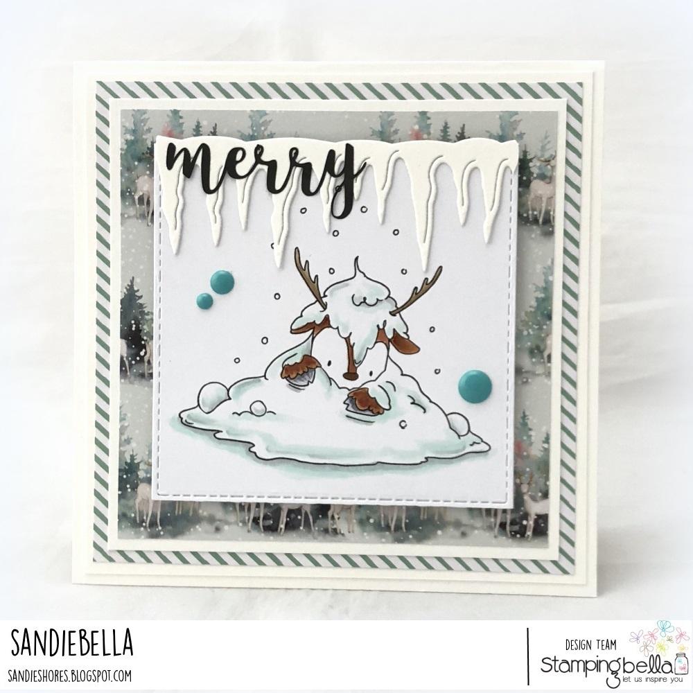 www.stampingbella.com: rubber stamp used: DEERPILE.. card by Sandie Dunne