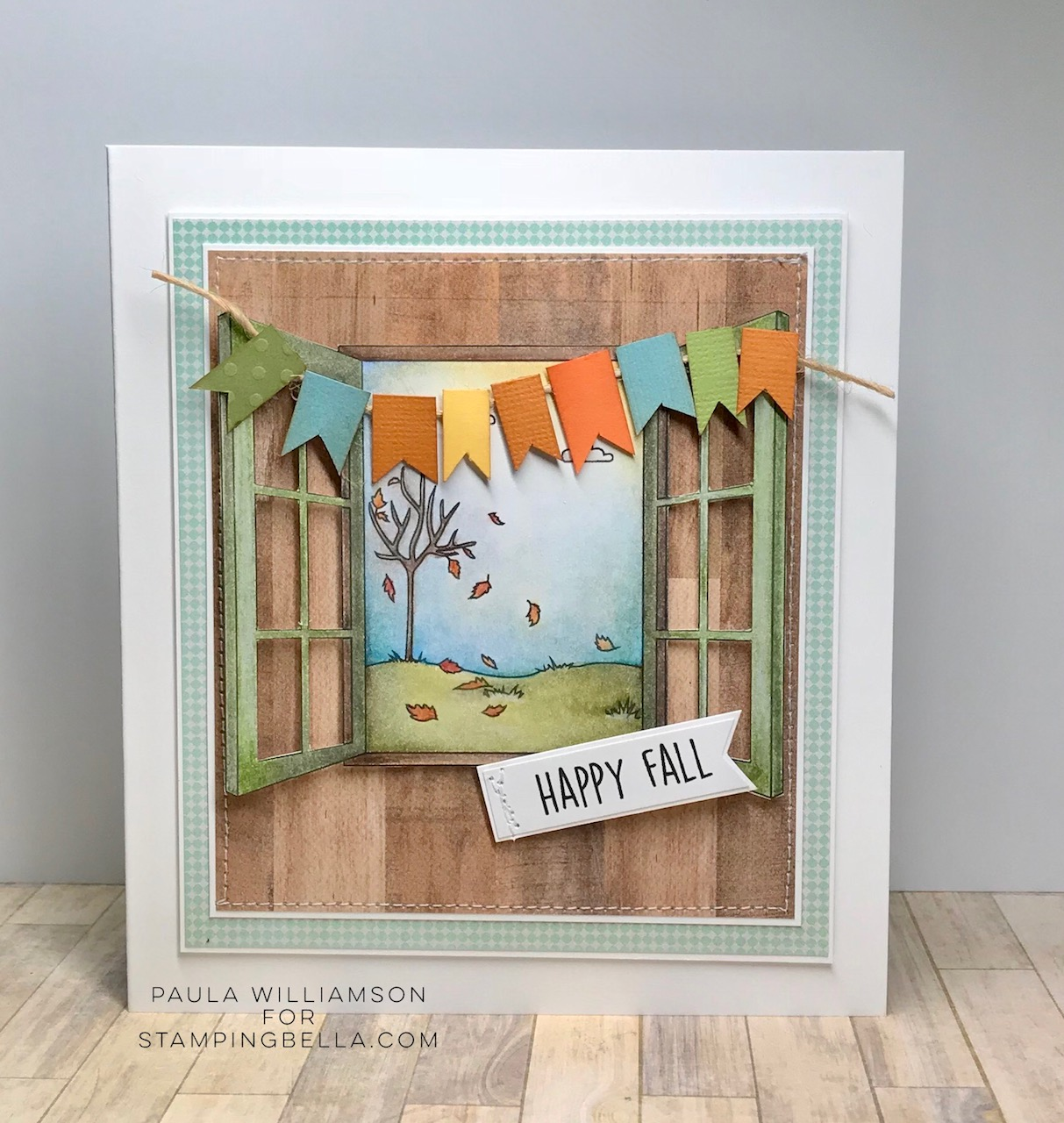 www.stampingbella.com: RUBBER STAMP: FALL WINDOW, card by Paula Williamson